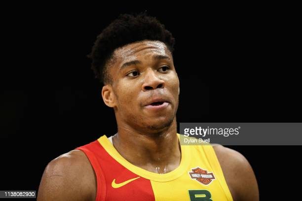 Giannis Antetokounmpo of the Milwaukee Bucks walks across the court in the third quarter against the Cleveland Cavaliers at the Fiserv Forum on March...