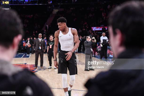 Giannis Antetokounmpo of the Milwaukee Bucks warms up before the game against the New York Knicks at Madison Square Garden on April 7 2018 in New...