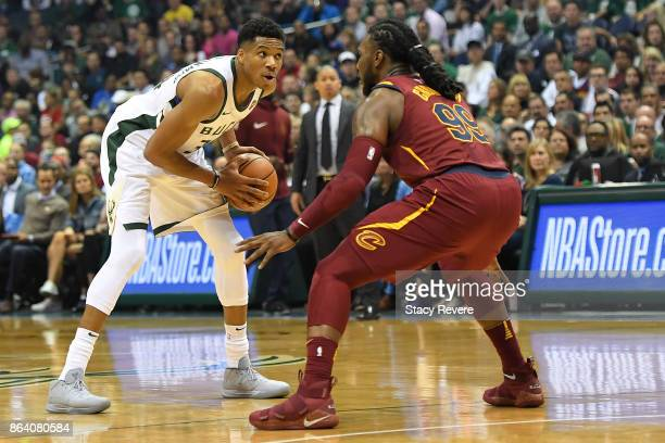 Giannis Antetokounmpo of the Milwaukee Bucks works against Jae Crowder of the Cleveland Cavaliers during the first quarter of a game at the Bradley...