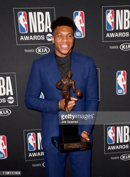 Giannis Antetokounmpo winner of the Kia NBA Most Valuable Player award poses in the press room during the 2019 NBA Awards presented by Kia on TNT at...