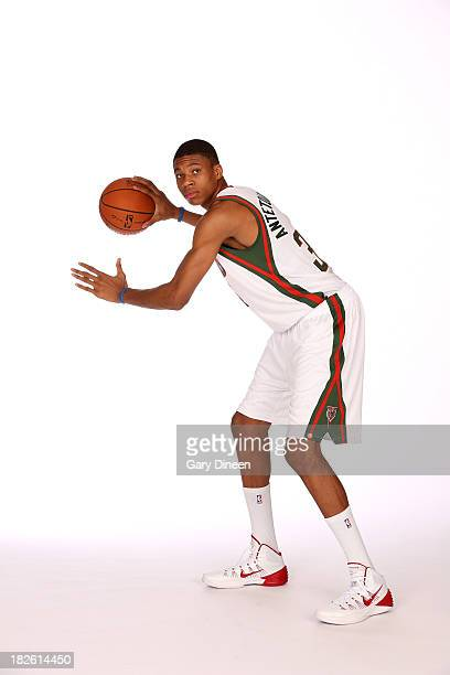Giannis Antetokounpo of the Milwaukee Bucks poses for a portrait during media day on September 30 2013 at the Bucks Training Center in St Francis...