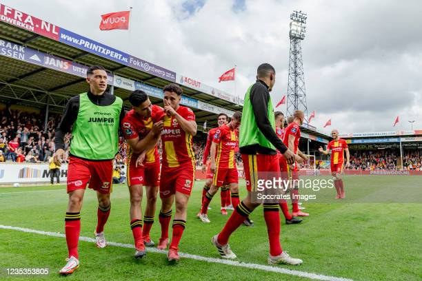 Giannis Botos of Go Ahead Eagles celebrates 1-0 during the Dutch Eredivisie match between Go Ahead Eagles v PEC Zwolle at the De Adelaarshorst on...