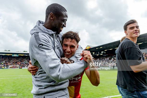 Giannis Botos of Go Ahead Eagles celebrates the victory with Jacob Mulenga of Go Ahead Eagles during the Dutch Eredivisie match between Go Ahead...