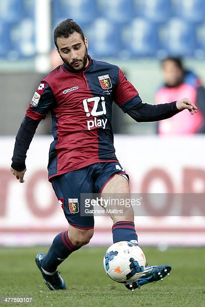 Giannis Fetfatzidis of Genoa CFC in action during the Serie A match between Genoa CFC and Calcio Catania at Stadio Luigi Ferraris on March 2 2014 in...