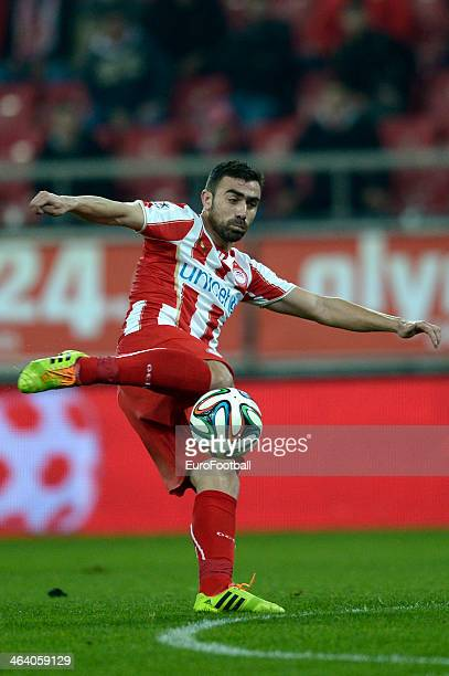 Giannis Maniatis of Olympiacos shoots during the Greek Superleague match between Olympiacos and Levadiakos at the Georgios Karaiskakis Stadium on...