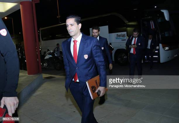 Giannis Sfairopoulos Head Coach of Olympiacos Piraeus arrives at the Arena during the 2017/2018 Turkish Airlines EuroLeague Regular Season Round 1...