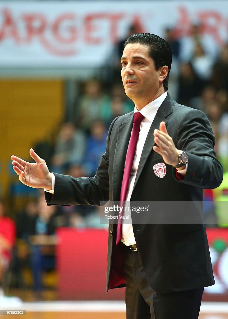 Giannis Sfairopoulos, Head Coach of Olympiacos Piraeus during the Turkish Airlines Euroleague Regular Season Round 6 game between Cedevita Zagreb v Olympiacos Piraeus at Drazen Petrovic Zagreb on November 19, 2015 in Zagreb, Croatia.