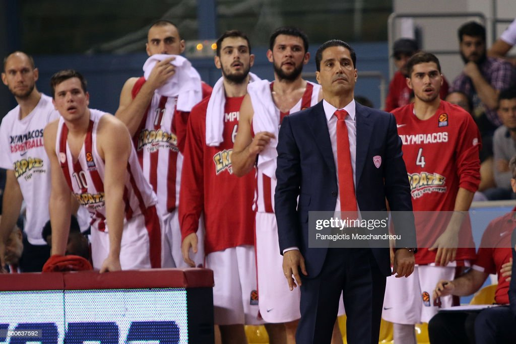 Giannis Sfairopoulos, Head Coach of Olympiacos Piraeus react during the 2017/2018 Turkish Airlines EuroLeague Regular Season Round 1 game between Olympiacos Piraeus v Baskonia Vitoria Gasteiz at Heraklion Arena on October 12, 2017 in Heraklion, Crete, Greece.