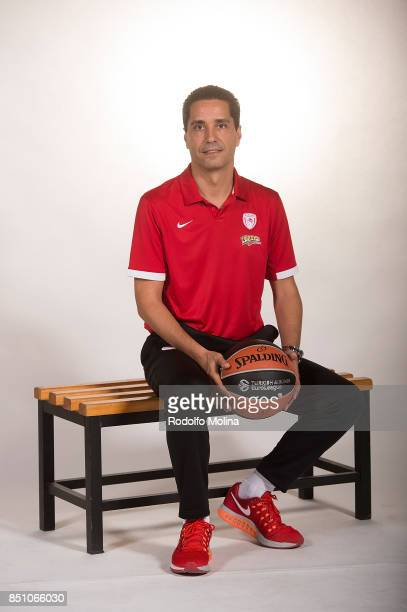 Giannis Sfairopoulos Head Coach poses during Olympiacos Piraeus 2016/2017 Turkish Airlines EuroLeague Media Day at Peace and Friendship Arena on...