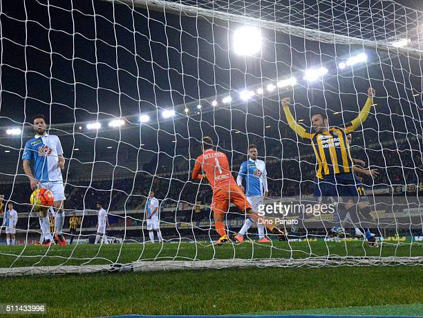 Gianpaolo Pazzini of Hellas Verona celebates After Luca Toni's goal during the Serie A match between Hellas Verona FC and AC Chievo Verona at Stadio...