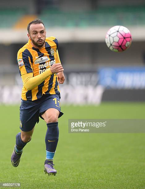 Gianpaolo Pazzini of Hellas Verona in action during the Serie A match between Hellas Verona FC and Udinese Calcio at Stadio Marc'Antonio Bentegodi on...