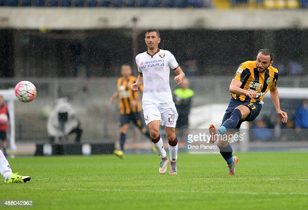 Gianpaolo Pazzini of Hellas Verona shoots during the Serie A match between Hellas Verona FC and Torino FC at Stadio Marc'Antonio Bentegodi on...