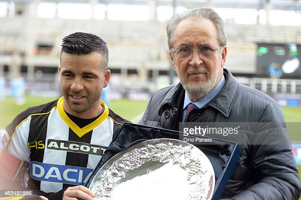 Gianpaolo Pozzo president of Udinese Calcio and Antonio Di Natale before the Serie A match between Udinese Calcio and SS Lazio at Stadio Friuli on...