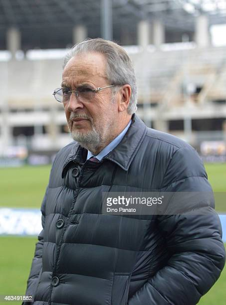 Gianpaolo Pozzo president of Udinese Calcio looks on during the Serie A match between Udinese Calcio and SS Lazio at Stadio Friuli on February 15,...