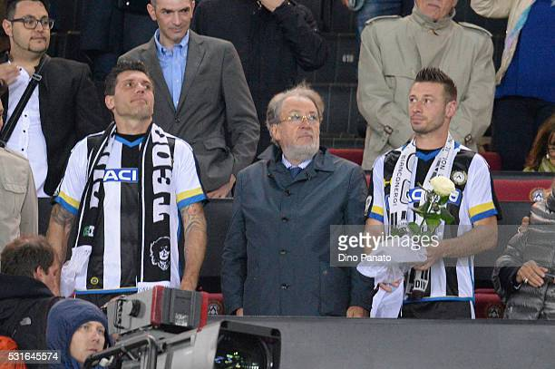Gianpaolo Pozzo President of Udinese with Giovanni Pasquale and Maurizio Domizi after the Serie A match between Udinese Calcio and Carpi FC at Stadio...