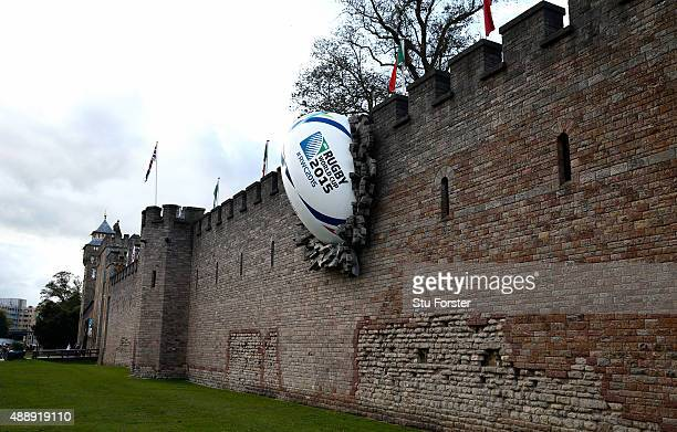A giant 2015 Rugby World Cup ball is displayed on the side of Cardiff Castle on September 18 2015 in Cardiff Wales