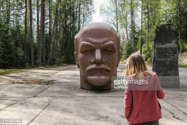 Giant 3metre high bust of Lenin is seen in former secret Soviet Zeltini Nuclear Missile Base close to the borders with Russia and Estonia in Zeltini...