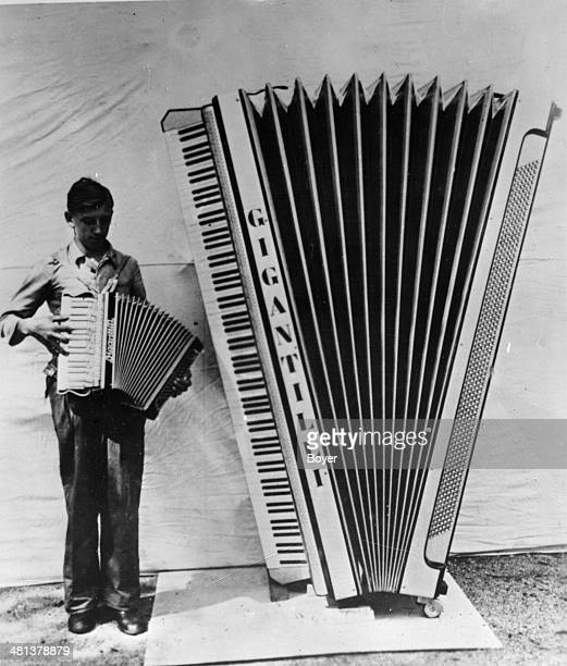 Giant accordion made by a music instrument maker from Klingenthal , 1937.