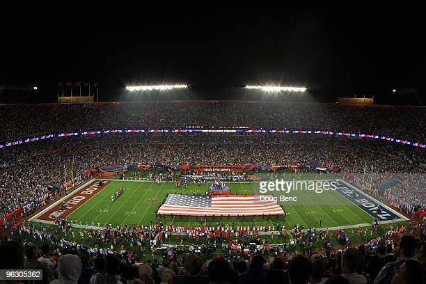 A giant American flag is seen on the field prior to the start of the 2010 AFCNFC Pro Bowl at Sun Life Stadium on January 31 2010 in Miami Gardens...