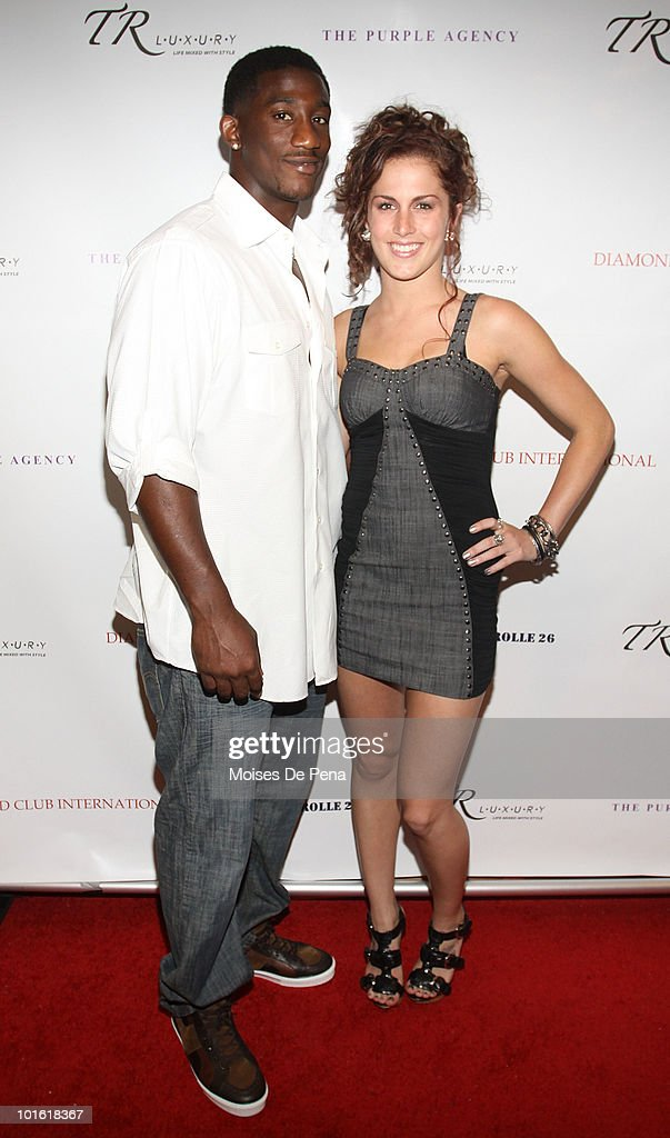 NY Giant Antrel Rolle and Candi Lynn attend his welcoming celebration on June 3, 2010 in New York, New York.