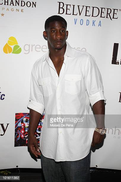 """Giant Antrel Rolle attends Lil Jon's """"Crunk Rock"""" album release party at Greenhouse on June 3, 2010 in New York City."""