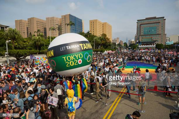 A giant balloon asks for Taiwan to be treated as Taiwan during the 2020 Tokyo Olympics Currently Taiwan competes under the name Chinese Taipei a name...