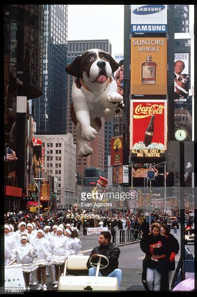 A giant balloon of Beethoven floats in the air at the 69th Macy's Thanksgiving Day Parade November 23 1995 in New York City The parade was...