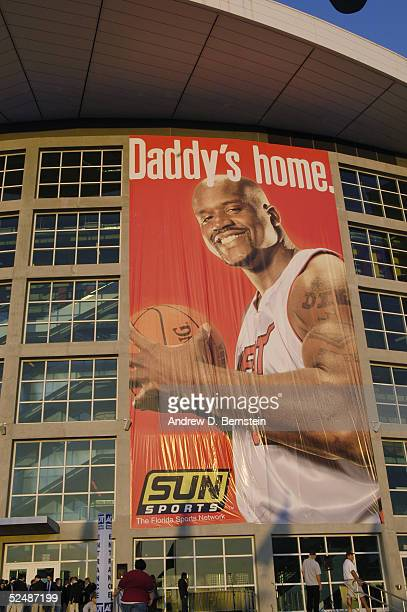 A giant banner of Shaquille O'Neal of the Miami Heat hangs outside American Airlines Arena before the game against the New York Knicks on March 19...