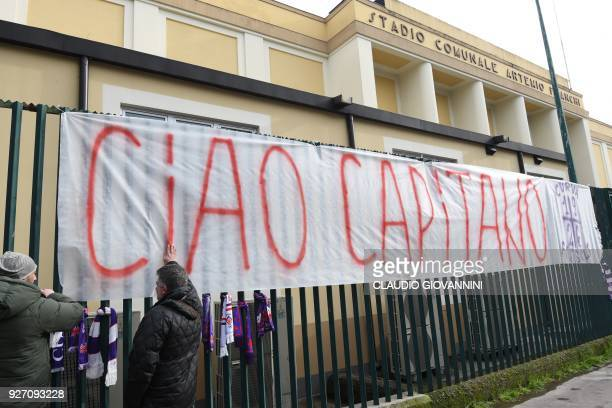 TOPSHOT A giant banner reading Ciao Captain is hanged on the fence of Fiorentina's stadium on March 4 2018 in Florence Italy international defender...