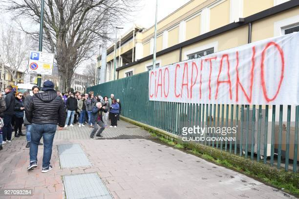 A giant banner reading 'Ciao Captain' is hanged on the fence of Fiorentina's stadium on March 4 2018 in Florence Italy international defender Davide...