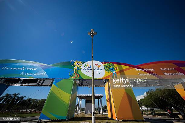 A giant banner with the logo of Rio 2016 Olympic and Paralympic Games are view near Antonio Carlos Jobim International Airport on July 5 2016 in Rio...