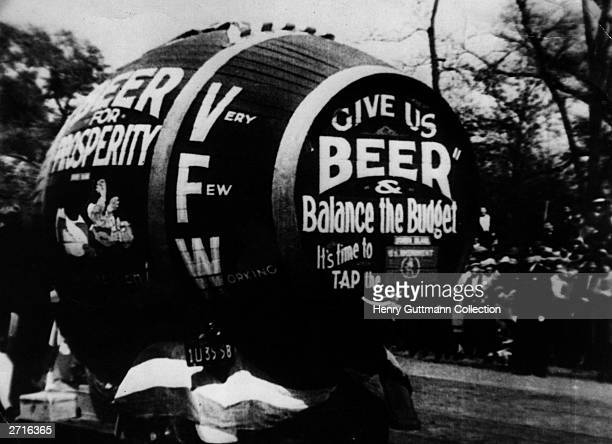 A giant barrel of beer part of a demonstration against prohibition in America