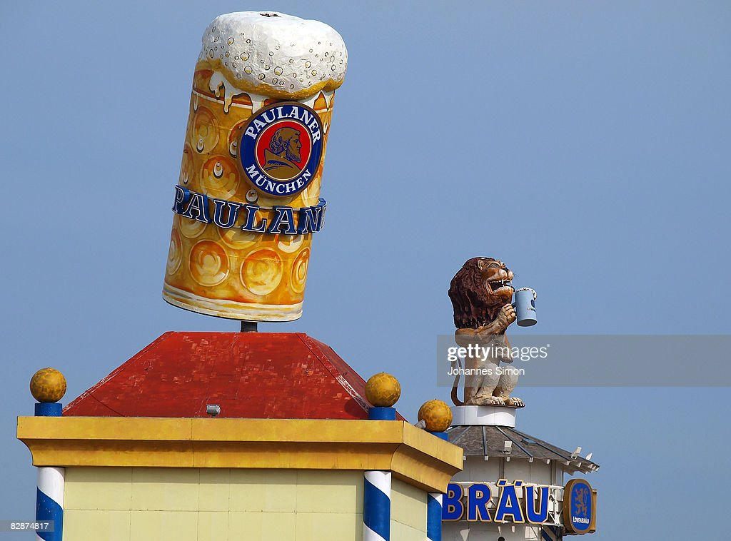 A giant beer mug is seen on top of the Paulaner brewery tower during a preview tour two days ahead of the opening of the Oktoberfest on September 18, 2008 in Munich, Germany. The Oktoberfest is seen as the biggest beer festival worldwide, it will start on the 20th of September.