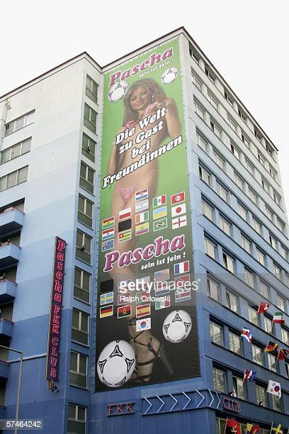A giant billboard advertising its services during the World Cup is displayed at a brothel April 27 2006 in Cologne Germany It shows a woman posing...