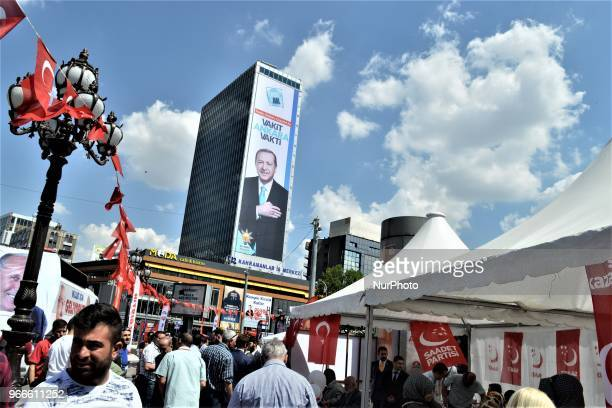 A giant billboard picturing President Recep Tayyip Erdogan is posted by the ruling Justice and Development Party for the early presidential and...