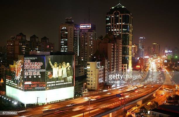 A giant billboard promots the Rolling Stones' A Bigger Band world tour concert on April 5 2006 in Shanghai China The Rolling Stones will hold their...