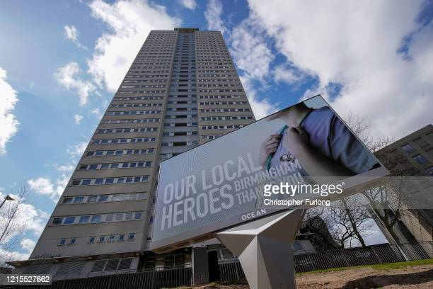 A giant billboard thanks NHS worklers in Birmingham city centre during the nationwide lockdownon March 29 2020 in Birmingham United Kingdom The...