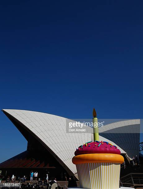 A giant birthday cake sits on the Opera House forecourt to celebrate the Sydney Opera House's 40th anniversary at Sydney Opera House on October 20...