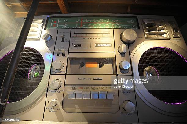 A giant boombox prop is displayed in the TMobile Music Store during the launch of Google Music hosted by TMobile at Mr Brainwash Studio on November...