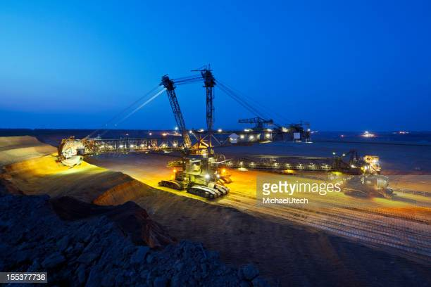 Giant Bucket-Wheel Excavator At Night