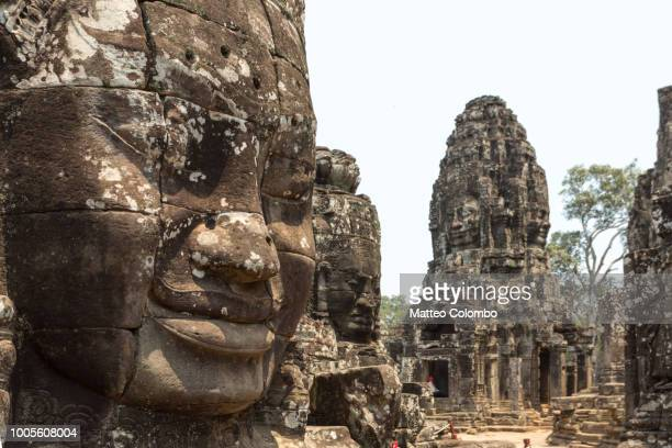 Giant Buddha faces inside Bayon temple, Cambodia