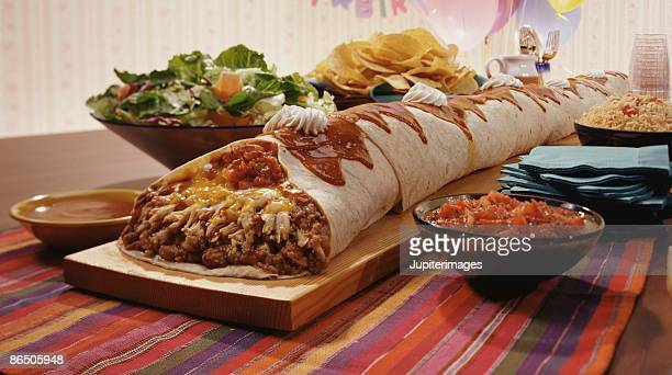 Giant burrito with side dishes