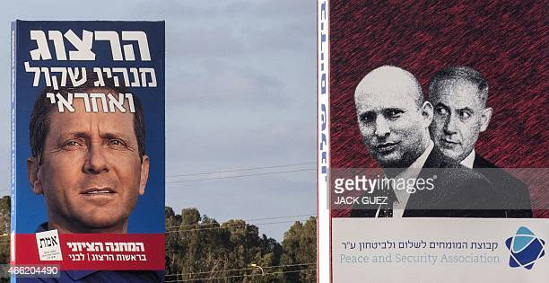 A giant campaign poster of Israeli Labour Party leader and coleader of the Zionist Union list Isaac Herzog and one of Israeli Prime Minister and...