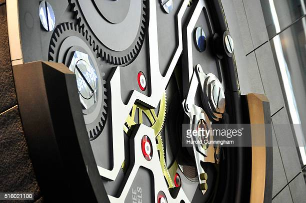 A giant Carl F Bucherer watch movement is displayed during Baselworld on March 16 2016 in Basel Switzerland Held annually Baselworld is the most...