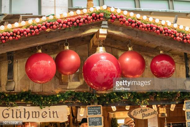 Giant Christmas Tree balls The most important christmas market of Munich at Marienplatz was full of visitors because of the warm weather