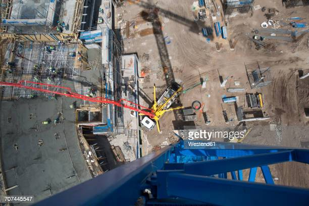 Giant concrete pump on construction site, top view