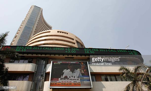 Giant display screen on the facade of the Bombay Stock Exchange building showing live telecast of Chidambaram's Budget speech on February 28 2013 in...