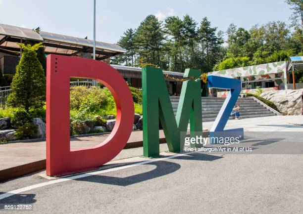 Giant DMZ sign in the third infiltration tunnel North Hwanghae Province Panmunjom South Korea on September 8 2017 in Panmunjom South Korea