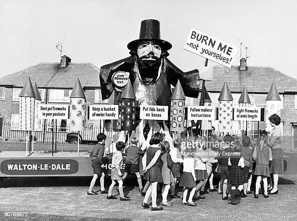 Giant effigy of Guy Fawkes on a specially built lorry touring Lancashire schools teaching children how to enjoy Fireworks Night safely