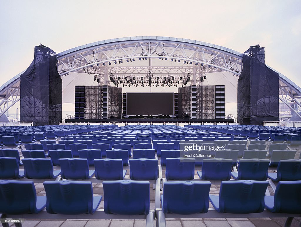 giant empty concert stage shanghai china stock photo